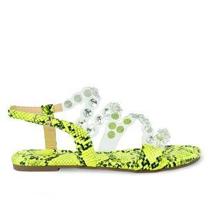 Women's Embellished Yellow Snake Flat Sandal